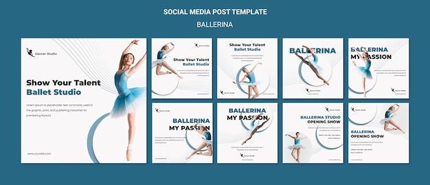 Post ballerina w mediach społecznościowych
