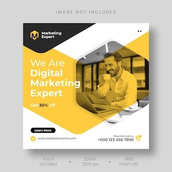 Post na instagram eksperta od marketingu cyfrowego i szablon banera w mediach społecznościowych