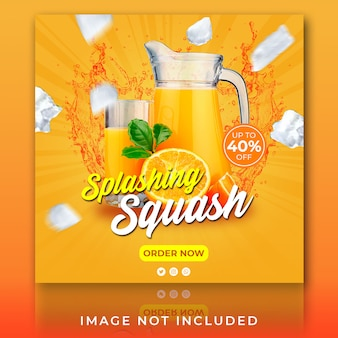 Post na instagramie lub banner kwadratowy letni napój do squasha