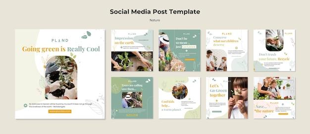 Post na mediach społecznościowych z roślinami naturalnymi