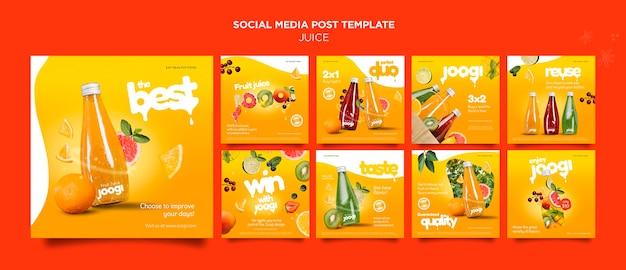 Post na mediach społecznościowych z sokiem organicznym