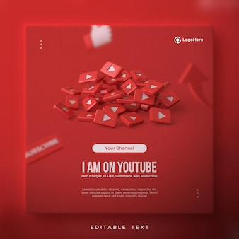 Post na youtube z nakładającymi się czerwonymi ikonami youtube