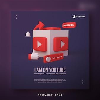 Post na youtube z wyrenderowaną ikoną logo youtube 3d