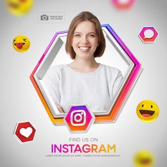 Post ulotka ramka na instagram social media 3d render emoji