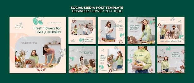Post w butiku kwiatowym w mediach społecznościowych