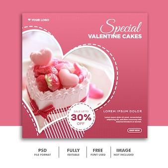 Post w kształcie serca valentine banner social media post instagram