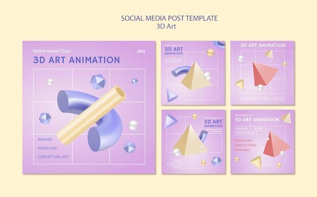 Post w mediach społecznościowych 3d