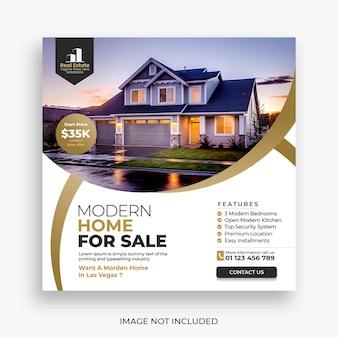 Post w mediach społecznościowych domu nieruchomości lub szablon banera kwadratowego