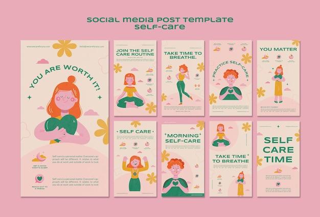 Post w mediach społecznościowych dotyczący samoopieki zdrowotnej