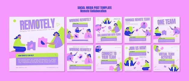 Post w mediach społecznościowych dotyczący zdalnej współpracy