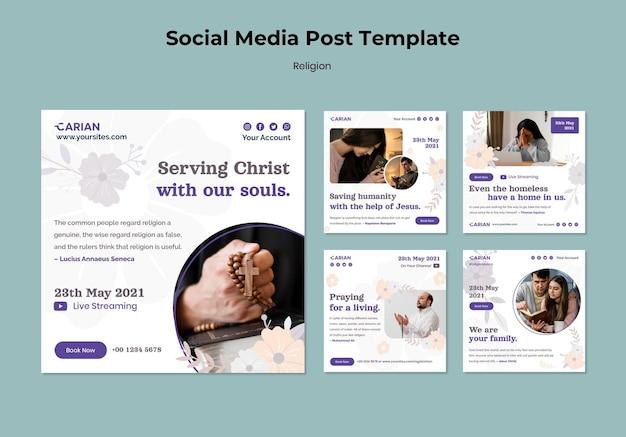 Post w mediach społecznościowych koncepcja religii
