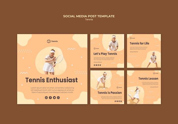 Post w mediach społecznościowych koncepcja tenisa