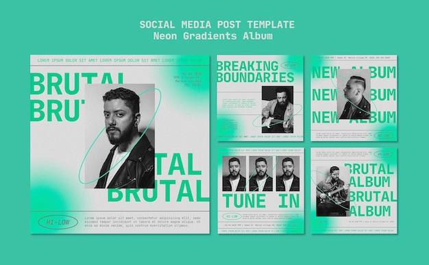 Post w mediach społecznościowych na albumie neon gradienty