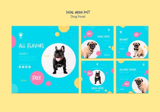 Post w mediach społecznościowych na temat zakupu karmy dla psów