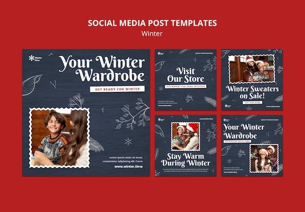 Post w mediach społecznościowych na zimową garderobę