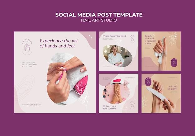 Post w mediach społecznościowych studia zdobienia paznokci