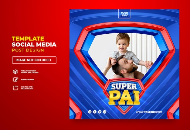 Post w mediach społecznościowych super tata w brazylii projekt szablonu renderowania 3d w języku portugalskim szczęśliwy dzień ojca