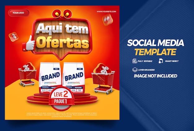 Post w mediach społecznościowych tutaj są oferty w brazylii projekt szablonu renderowania 3d w języku portugalskim