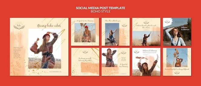 Post w mediach społecznościowych w stylu boho