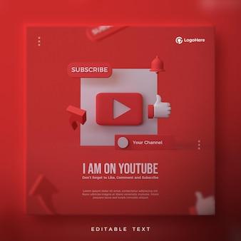 Post w mediach społecznościowych z czerwonym przyciskiem odtwarzania youtube 3d