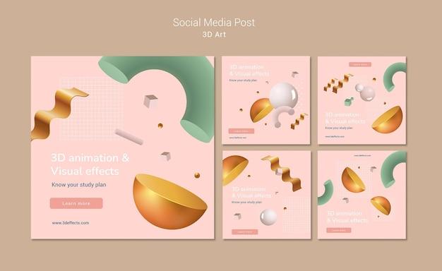 Post w mediach społecznościowych z grafiką 3d