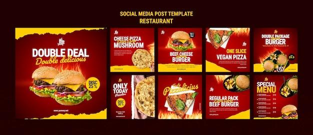 Post w mediach społecznościowych z jedzeniem w restauracji