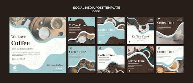 Post w mediach społecznościowych z kawą