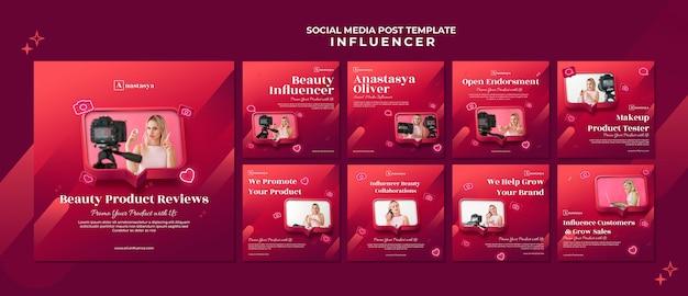 Post w mediach społecznościowych z koncepcją influencera