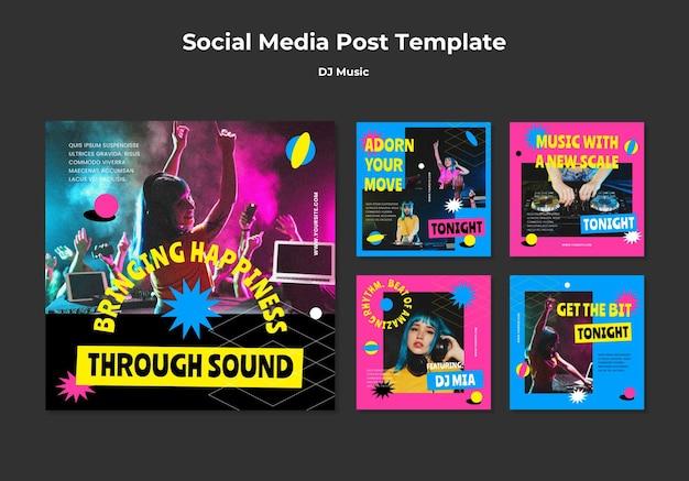 Post w mediach społecznościowych z muzyką dj