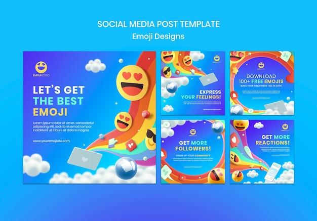 Post w mediach społecznościowych z projektowaniem emotikonów