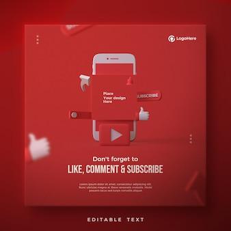 Post w mediach społecznościowych z renderowaniem 3d logo youtube