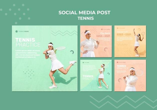Post w mediach społecznościowych z treningiem tenisa