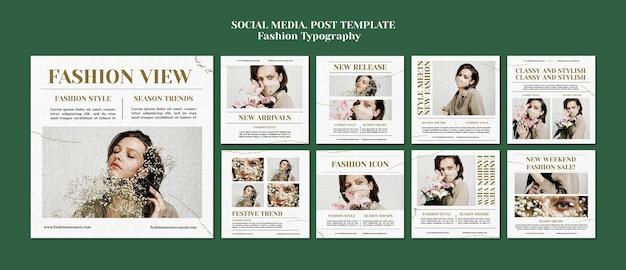 Post w mediach społecznościowych z typografią mody