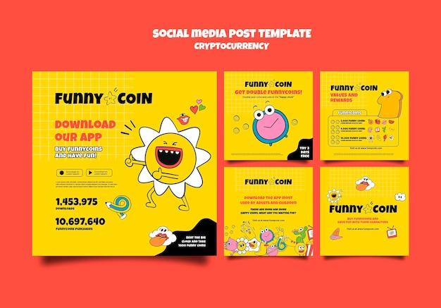 Post w mediach społecznościowych z zabawną monetą z kryptowalutą