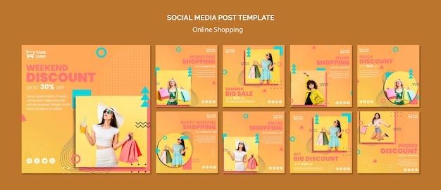 Post w mediach społecznościowych z zakupami online