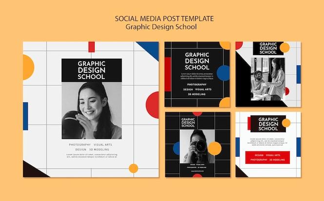 Post w mediach społecznościowych ze szkoły projektowania graficznego