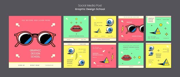 Post W Mediach Społecznościowych Ze Szkoły Projektowania Graficznego Premium Psd