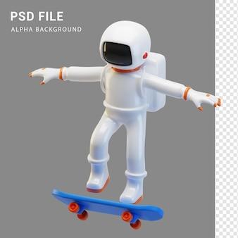 Postać astronauty na deskorolce w renderowaniu 3d
