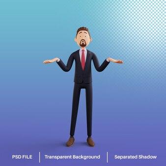 Postać biznesmena 3d z gestem nie wiem premium psd