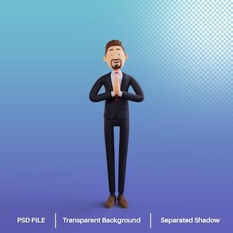 Postać biznesmena 3d z gestem powitalnym premium psd