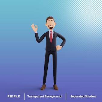 Postać biznesmena 3d ze znakiem ręki ok premium psd
