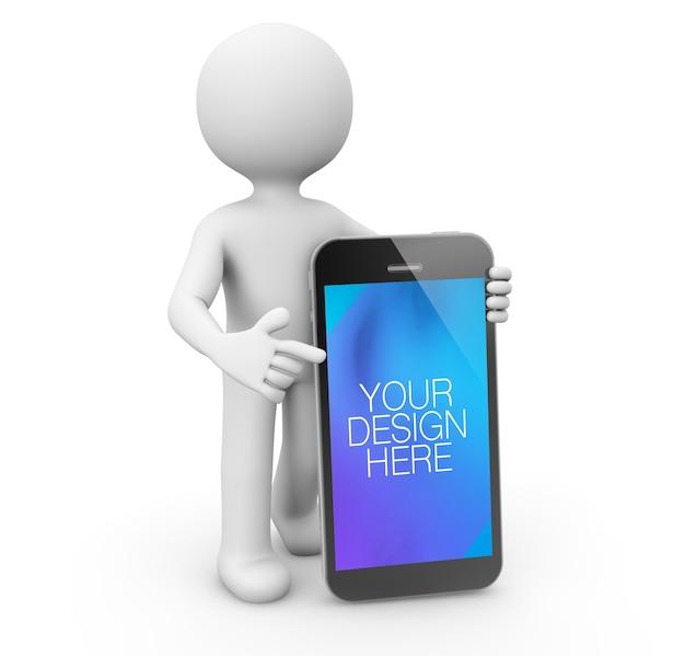 Postać pokazująca makietę ekranu mobilnego