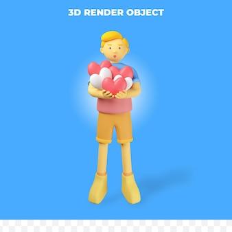 Postać renderowania 3d przynosi miłość