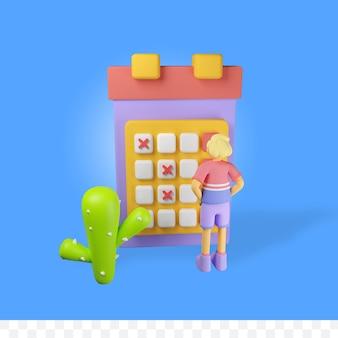 Postać renderowania 3d z kalendarzem