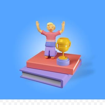 Postać renderowania 3d z książką i trofeum