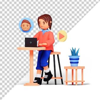 Postać z kreskówki 3d dziewczyna podczas rozmowy wideo