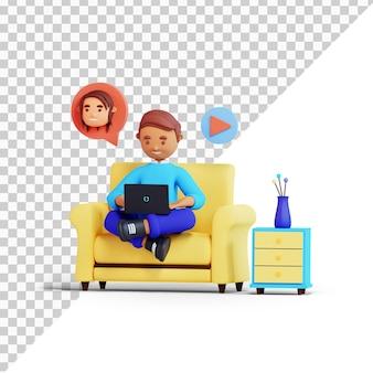 Postać z kreskówki 3d mężczyźni na rozmowie wideo