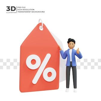 Postać z kreskówki 3d trzymająca procent rabatu z ceną premium psd
