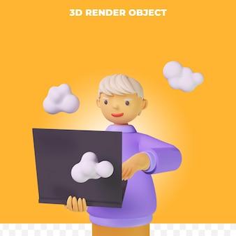 Postać z kreskówki renderowania 3d z laptopem