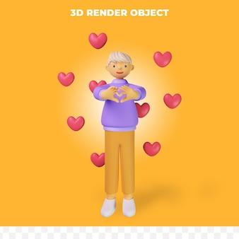 Postać z kreskówki renderowania 3d z miłością
